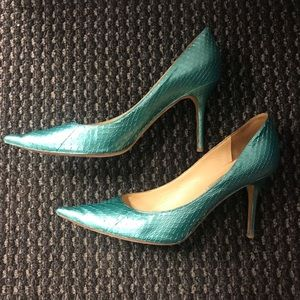 Jimmy Choo Romy Python Pumps Turquoise Watersnake